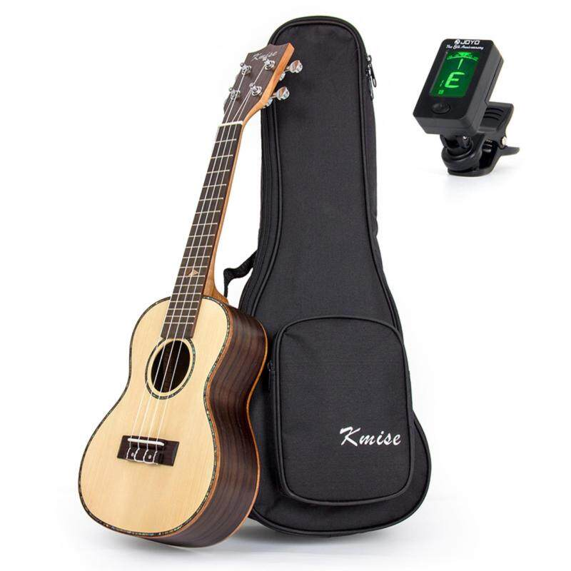 Kmise Concert Ukulele Uke 23 Inch Acoustic Hawaii Guitar Solid Spruce Top Rosewood Wood 18 Fret with Bag Tuner  (Yellow) Malaysia