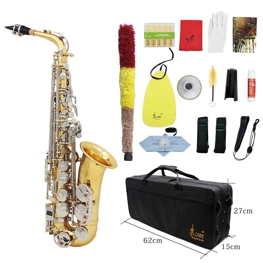 LADE Alto Saxophone Sax Glossy Brass Engraved Eb E-Flat Natural White Shell Button Wind