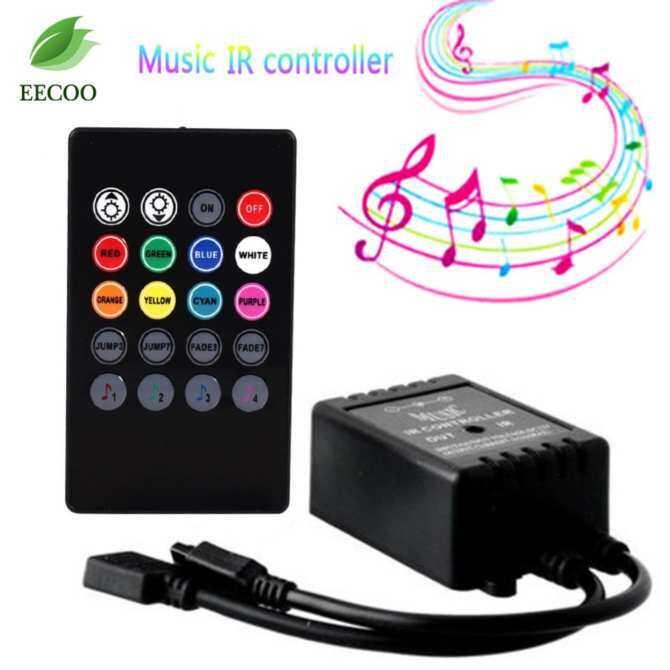 LED Musik Pengendali 20 Tombol IR Jarak Jauh Sensor Suara Pengendali untuk Lampu Strip RGB-