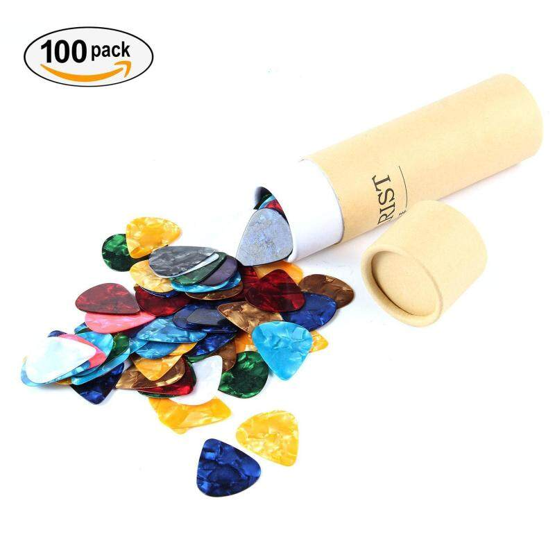 leegoal 100Pcs Guitar Picks 0.71mm Colorful Assorted Pearl Celluloid Guitar Pick For Guitar Bass With Storage Box Malaysia