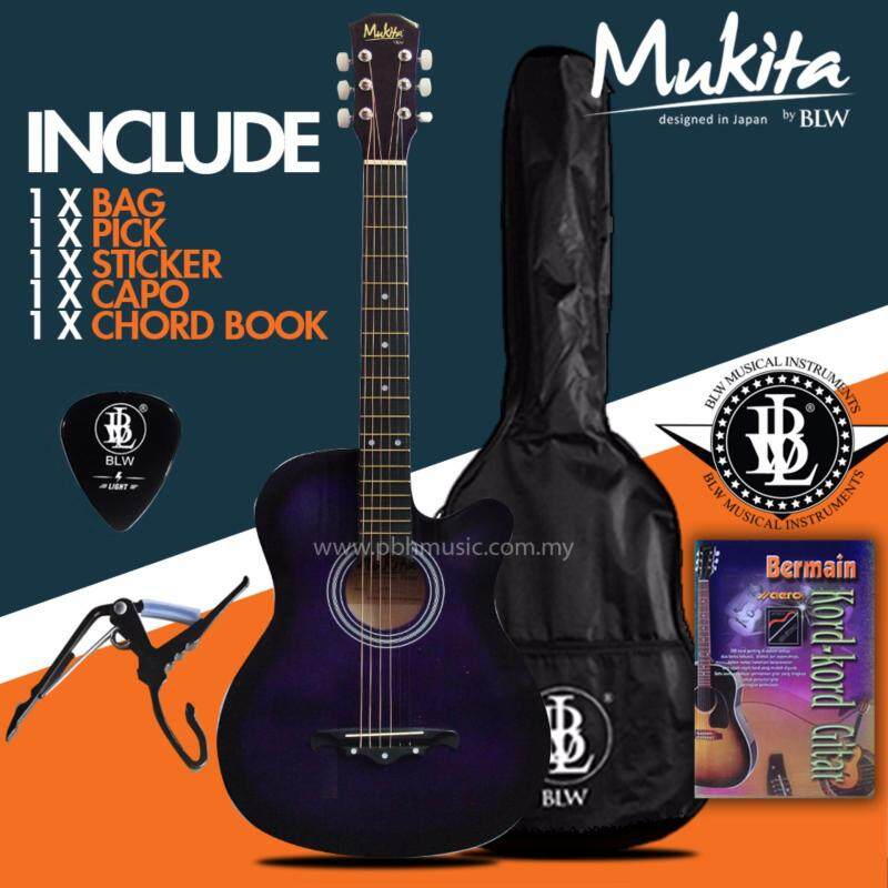 Mukita by BLW Standard Acoustic Folk Cutaway Basic Guitar Package 38 Inch for beginners with Bag, Pick, Capo, Chord Book and Merchandise Sticker (Purple) Malaysia