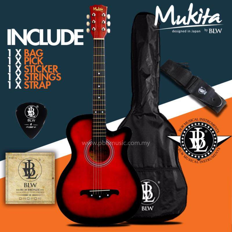 Mukita by BLW Standard Acoustic Folk Cutaway Basic Guitar Package 38 Inch for beginners with Bag, Pick, String Set, Strap and Merchandise Sticker (Red) Malaysia