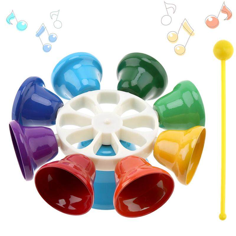 Best Offer Musical Toy Colorful 8 Note Percussion Bell Hand Bell Children Early Education Musical Instrument Intl