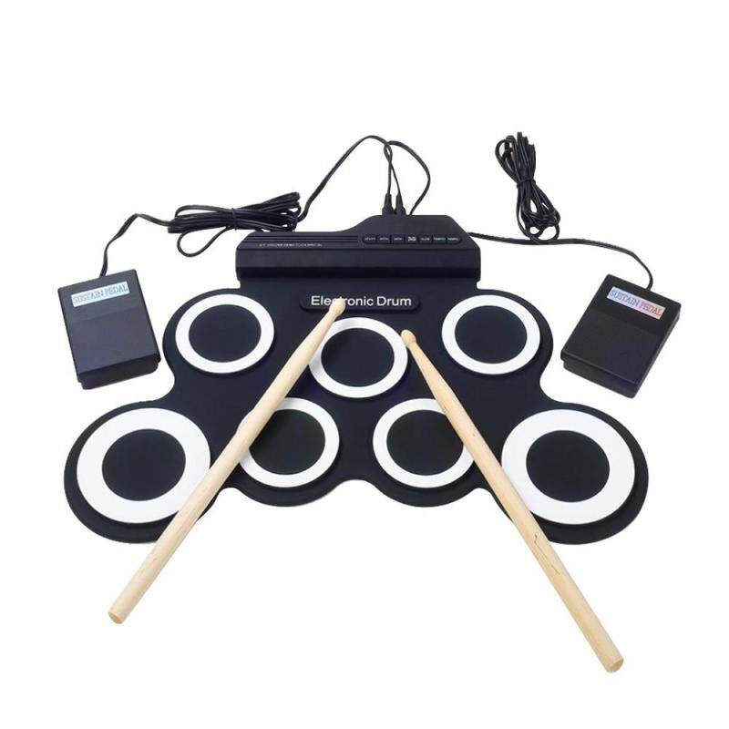 niceEshop Portable Electronic Roll Up Drum Pad Instrument Gift Kit Silicon Foldable With Stick