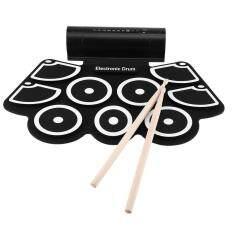 Portable Electronic Drum Gulung Atas Pad Set 9 Bantalan Silikon Speaker Terpasang dengan Stik Drum Pedal Kaki USB 3.5 Mm Kabel Audio-Intl