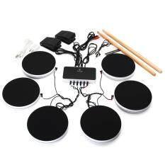 Portable Electronic Drum Kit 6 Pieces Set Pad Pedals Musical Digital Instruments
