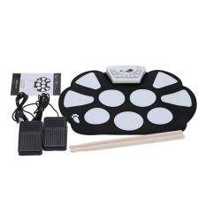 Portable Electronic Roll Up Drum Pad Kit Silicon Foldable With Stick By New Plus.