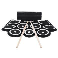 Portable Electronic Roll Up Drum Pad Set 9 Silicon Pads Built-In Speakers With Drumsticks Foot Pedals Usb 3.5mm Audio Cable By New Plus.