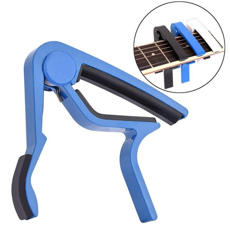Portable Quick Change Tune Clamp Handheld Tuner Capo for Folk Guitar (Blue) Malaysia