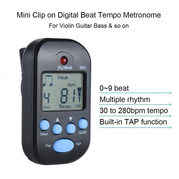 Professional Clip on Digital Beat Tempo Metronome LCD Screen Lightweight & Mini for Violin Guitar Bass Musical Instrument Black Malaysia