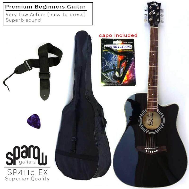 Sparow Acoustic 411c Black Guitar (FOC Capo Random Colour, Non-Padded Bag & 1xPick) Malaysia