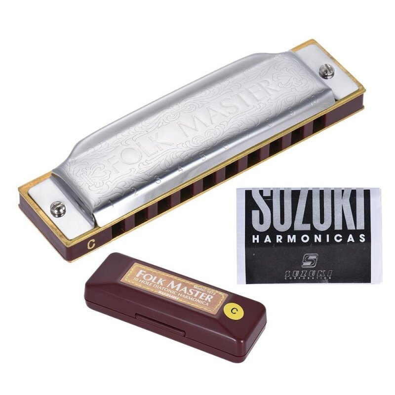1072-C Folkmaster Standard 10-Hole Diatonic Harmonica Key of C 20 Tone for Beginner Student Outdoorfree Malaysia