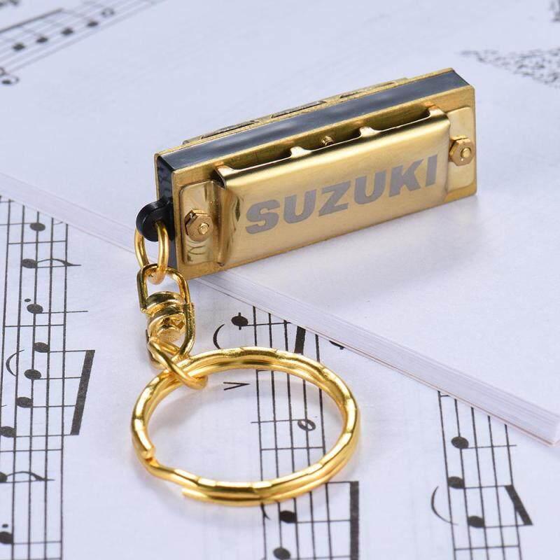 Mini 5 Holes 10 Tone Harmonica Keychain Key of C Golden ^ Malaysia