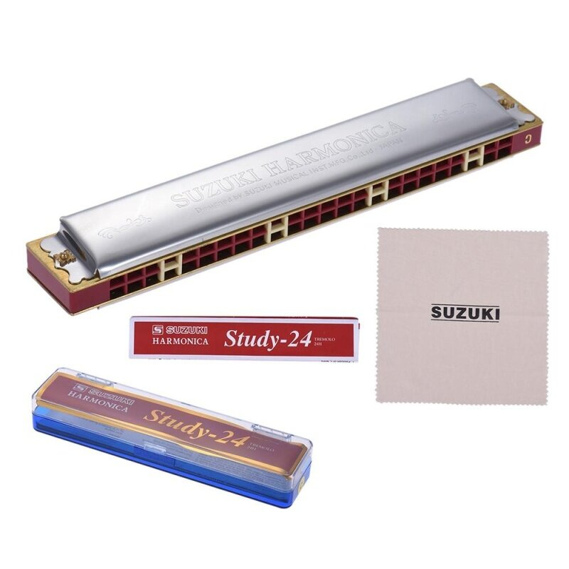 Suzuki Study-24 24 Holes Harmonica Tremolo Key of C with Cleaning Cloth Box Musical Instrument for Beginner Student Malaysia