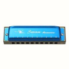 Swan Kèn Harmonica Cơ Thể Bằng Nhựa Nhiều Màu Laser 10 Lỗ 20 Vảy Màu Đỏ