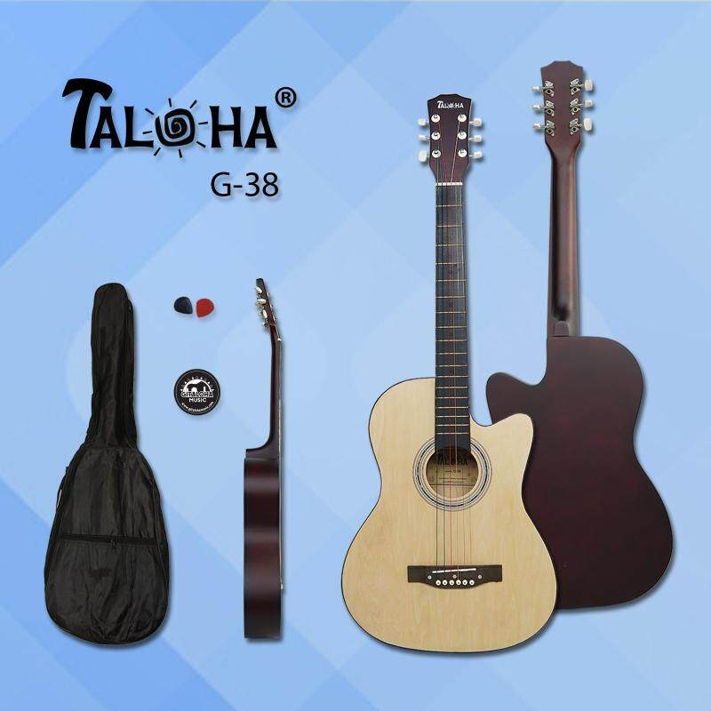 Taloha Acoustic Cutaway Matte Guitar 38-Inch Essential Package + Free Bag + Sticker + 2 Picks (Natural) Malaysia