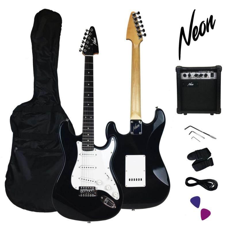 Taloha Neon Jumpstart Electric Guitar Package (Black) + 10W Guitar Amplifier + Full Set Accessories Malaysia