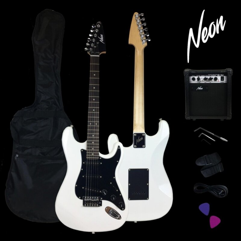 Taloha Neon Jumpstart Electric Guitar Package (White) + 10W Guitar Amplifier + Full Set Accessories Malaysia