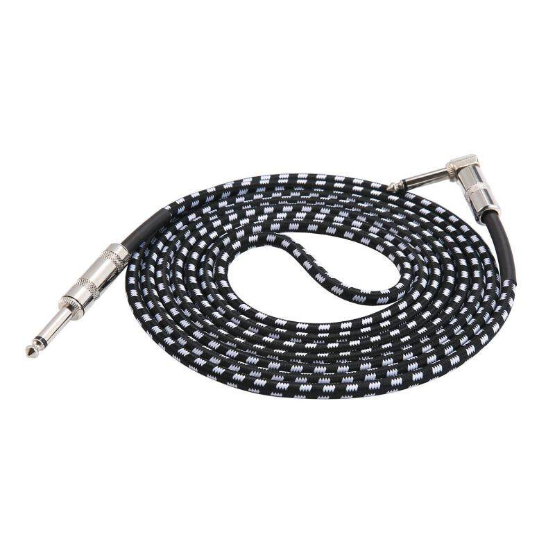 Teekeer Guitar Lead Cable 3m (10ft), 6.3mm (1/4) Braided Guitar Instrument Cable For Electric Guitar Bass Keyboard - Straight Jack To Angled Jack Tweed Cable Malaysia
