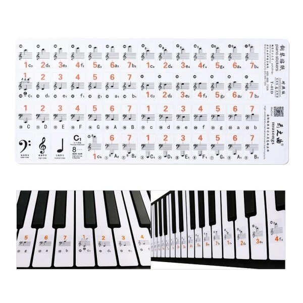 【Hot Sale】Transparent 37 49 61 Electronic Keyboard 88 Key Piano Stave Note Sticker Notation Version & Sheet Music for White Keys Malaysia