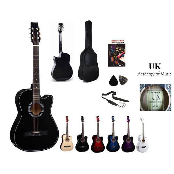 UK Acoustic Guitar 38 Inch (Black)+Bag+2 Picks+Strap+Book Malaysia