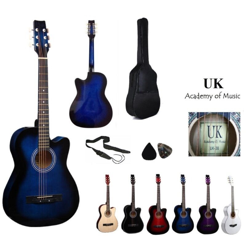 UK Acoustic Guitar 38 Inch (Blue)+Bag+2 Picks+Strap Malaysia