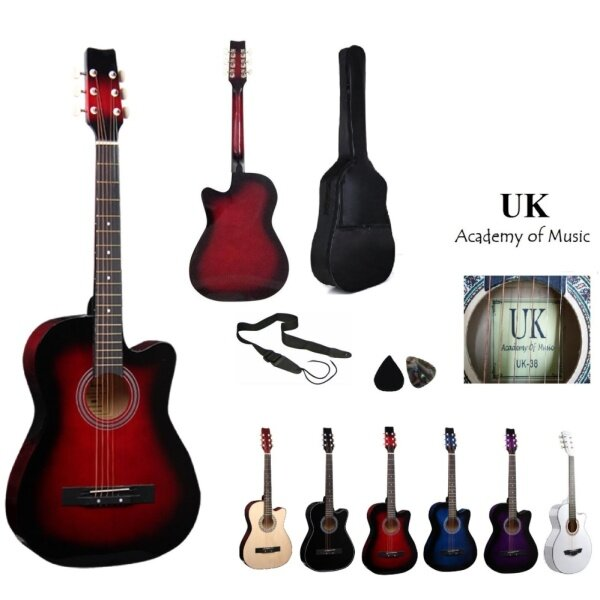 UK Acoustic Guitar 38 Inch (Red)+Bag+2 Picks+Strap Malaysia