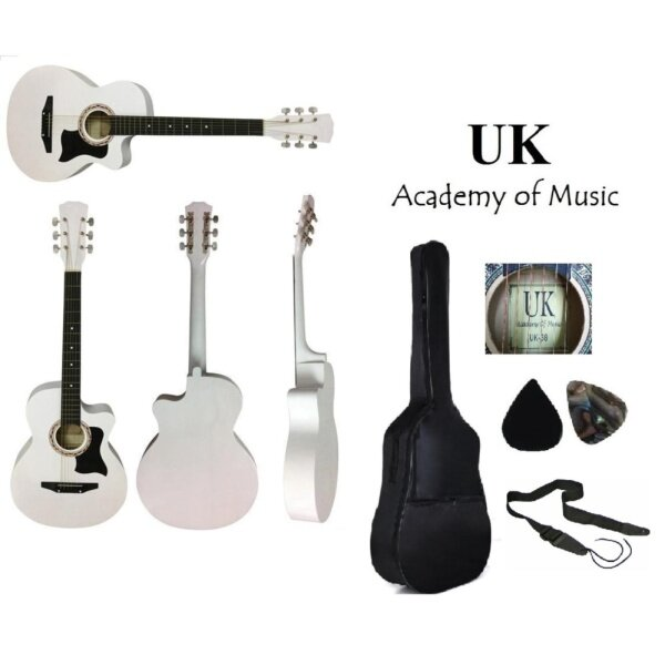 UK Acoustic Guitar 38 Inch with Pickguard(White)+Bag+2 Picks+Strap Malaysia