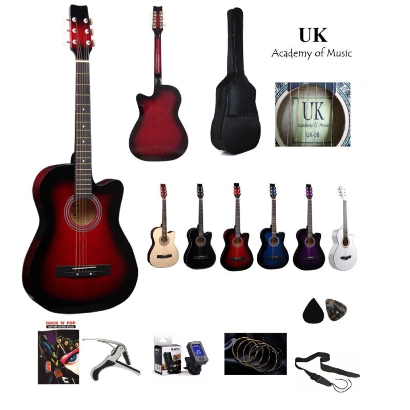UK Acoustic Guitar 38 Inch+Bag+2 Picks+Strap+Capo+Book+Tuner+Strings(Red) Malaysia