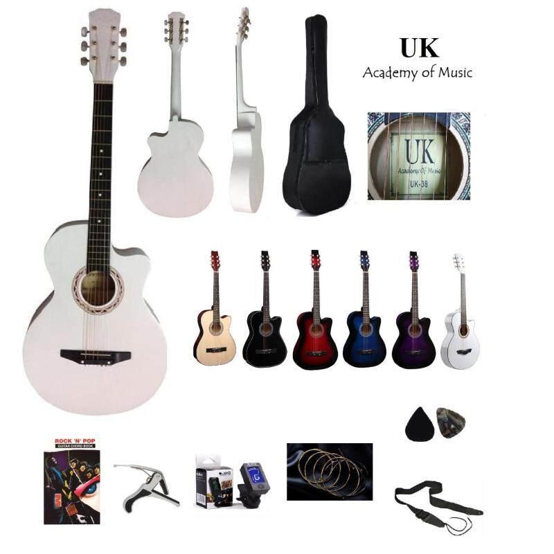 UK Acoustic Guitar 38 Inch+Bag+2 Picks+Strap+Capo+Book+Tuner+Strings(White) Malaysia