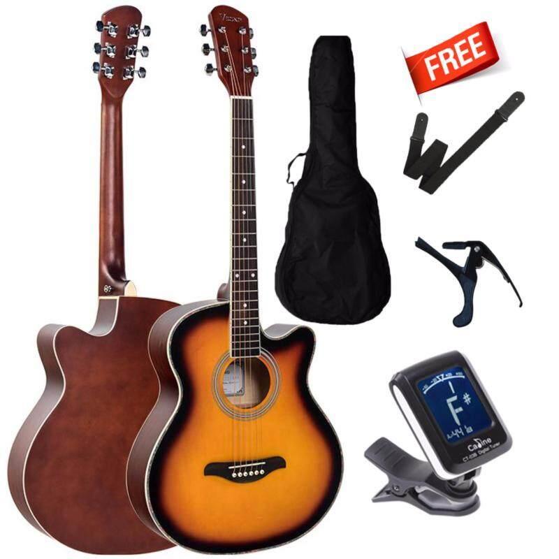 V Song Acoustic guitar Cut-Away  40 Inch Folk Guitar FOC non-padded bag+ clip tuner + guitar strap + guitar capo Malaysia