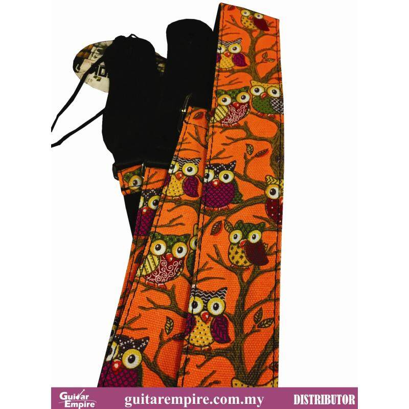 Vostok Guitar Strap Orange Owl Designed S086 -Suitable For Acoustic Guitar, Electric Guitar And Bass Guitar Malaysia