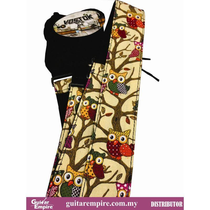 Vostok Guitar Strap Cream Owl Designed S086 -Suitable For Acoustic Guitar, Electric Guitar And Bass Guitar Malaysia
