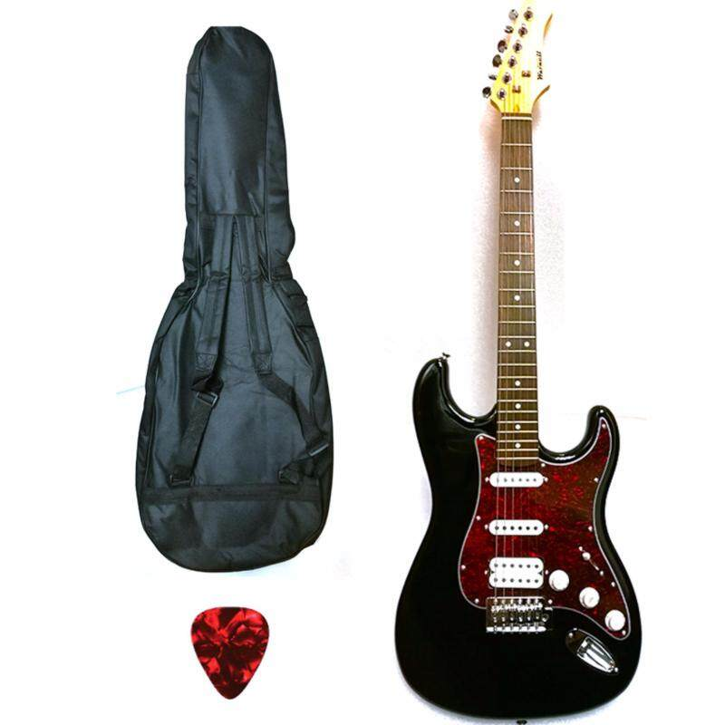Warnell Electric Guitar Black S/S/H Rock with bag, strap and cable Malaysia