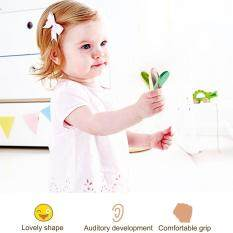BELLE Wooden Percussion Instruments Baby's Music Toys Rhythm Band Handle Castanet Green & wooden color