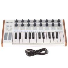 Worlde Ultra-Portable Mini Profesional 25-Kunci USB MIDI Pad Drum Yang dan Pengontrol Keyboard