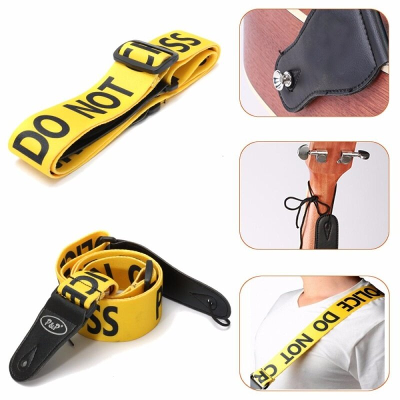 Yellow Police Line Pattern Adjustable Guitar Strap Durable Belt Acoustic Bass Malaysia