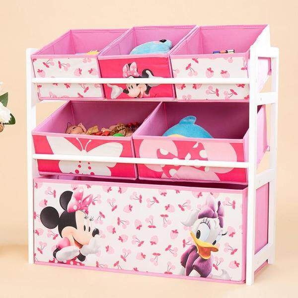 RuYiYu - 64 X 60 X 28cm, 3 Layers Kids Toy Organizer and Storage Bins, Non-woven Fabric Drawers in cartoon Pattern, Toy Storage Rack, Natural/Primary