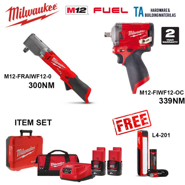 MILWAUKEE M12 FUEL COMBO SET FIWF12-OC FRAIWF12 L4201 IMPACT WRENCH 12MM