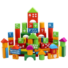 100pcs/set Educational Childrens Wooden Building Blocks By 168 Concept Trading.