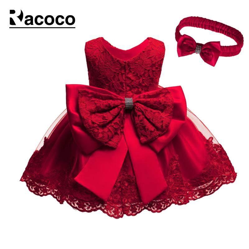 62fce87ed7fcd Racoco Girls Dresses Princess Bow Lace Puff Fluffy Dress + Hair Band Kids  Bowtie Tutu Dresses