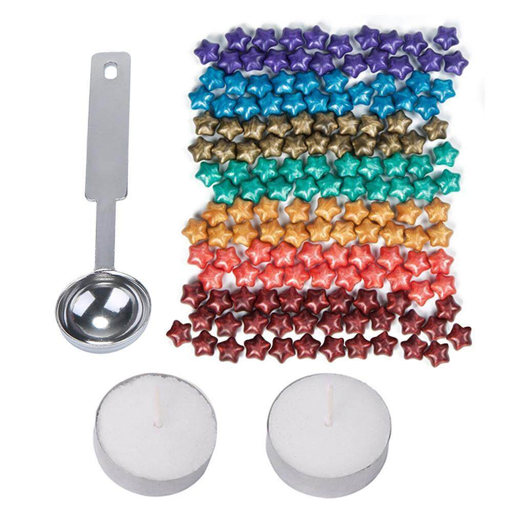 Outflety 150pcs Rainbow Colorful Star Shape Sealing Wax Beads With A Wax Melting Spoon And 2 Pieces Candles For Wax Seal Stamp By Outflety.