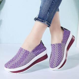 Dosreal Thời Trang Nữ Dệt Giày Phối Màu Wedge Sneaker Thoáng Mát Cho Giày Tập Đi Siêu Nhẹ Cho Nữ Trơn Trượt Trên Flat thumbnail
