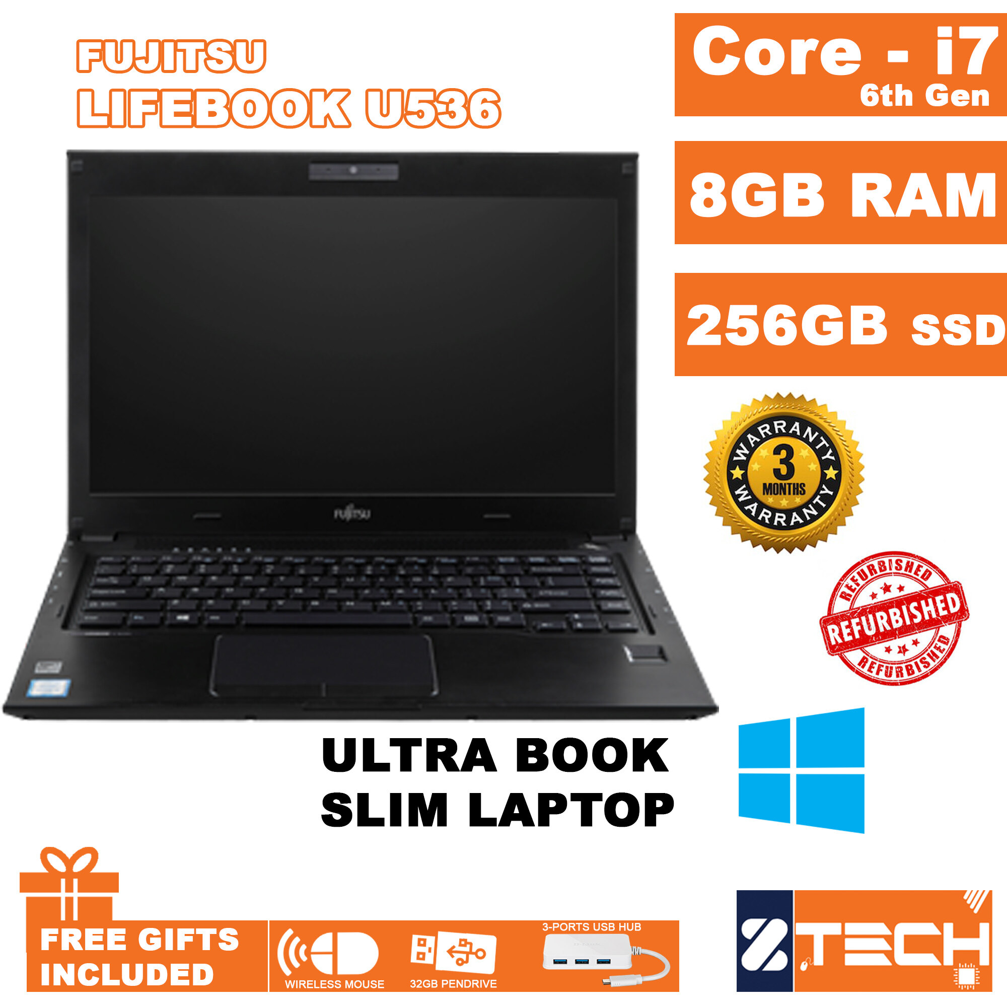 Fujitsu Lifebook U536 / Intel Core I7-6200U @ 2.3GHz / 8GB RAM DDR4 / 500GB HDD / WIN10 Pro / 3Months Warranty Malaysia