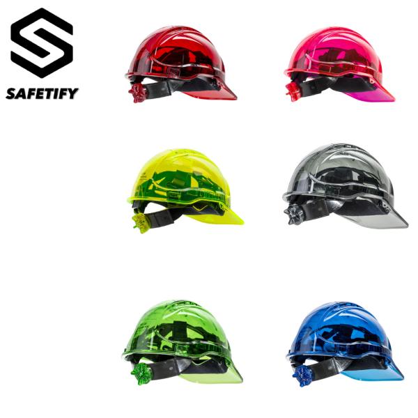 Portwest Safety Helmet CE Certificate Work Hard Hat in Translucent Hi Vis Adjustable PC Work Cap
