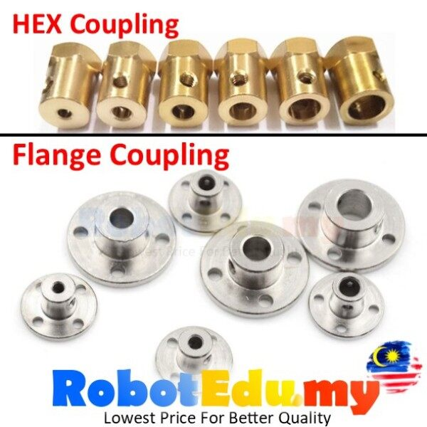Flange / Hex Copper Brass DC Motor Wheel Coupling Shaft Rod Mounting Connector 2mm 3mm 4mm 5mm 6mm 8mm 10mm 12mm Coupler Robot Wheel Connector [1unit only]