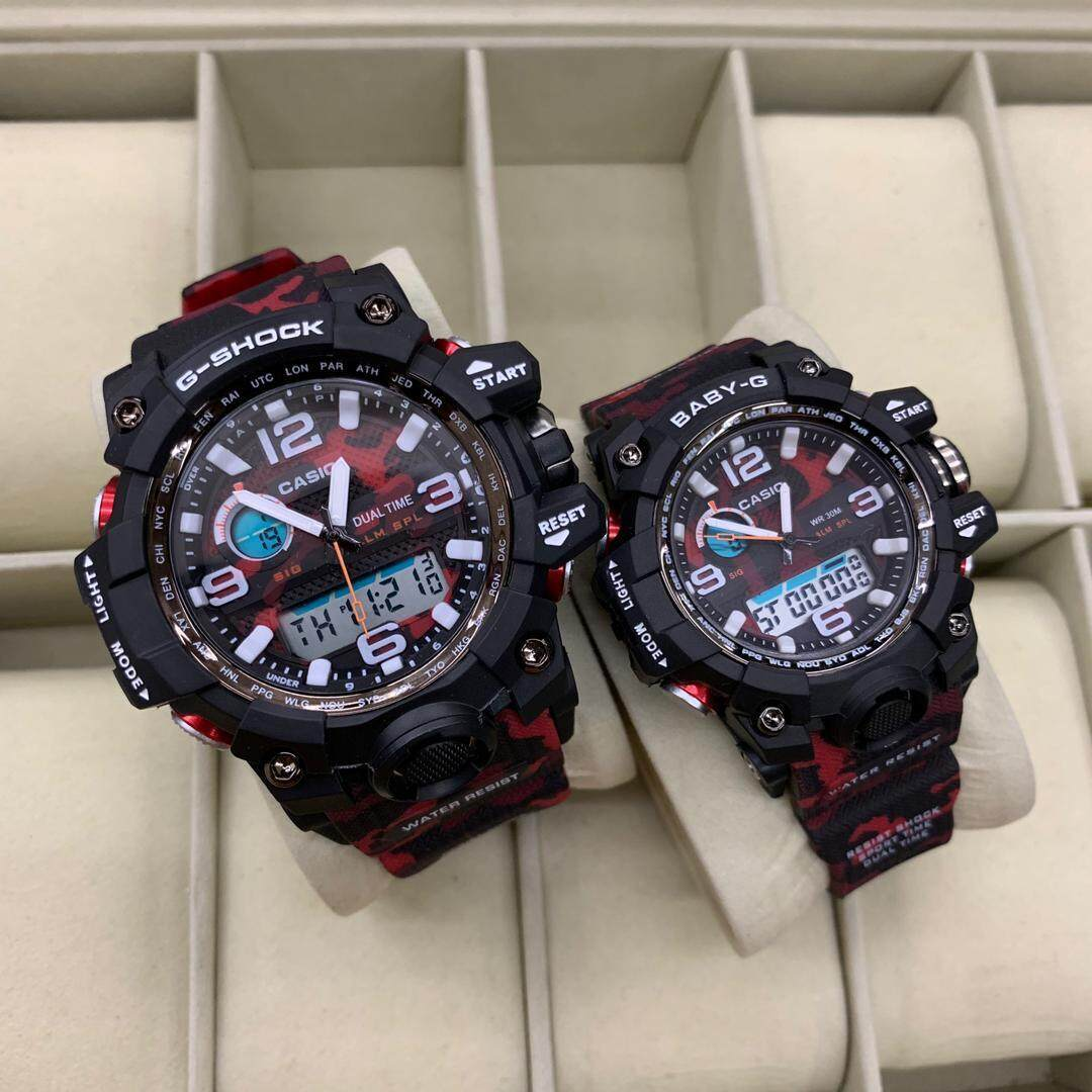 Special Promotion Casio_ G Shock_ Dual Watch For Couple(mudmaster) Army Red Special Promotion By Gardenwatches.