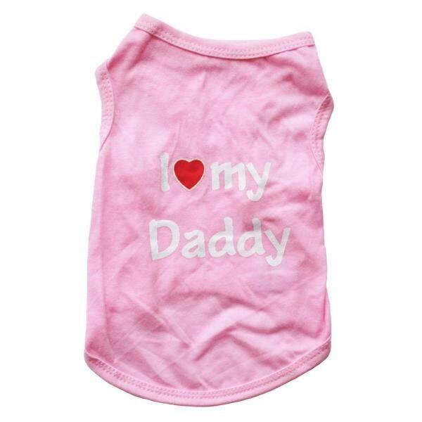 Jingyandongz®Quần Áo Vải Cotton Đáng Yêu Cho Thú Cưng Chó Con Chó Nhỏ I Love My Daddy Mommy, Không Tay Vest