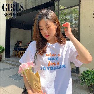 Girls Republic Thời Trang Phong Cách Hàn Quốc Phụ Nữ Của Giản Dị In Chữ Cách Xa Nhau Áo Phông Ngắn Tay thumbnail