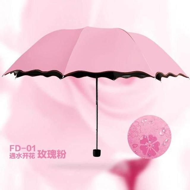 Ladies'sunshine umbrella blossoms in water changes color parasol umbrella triple fold black rubber sunscreen UV woman umbrellas